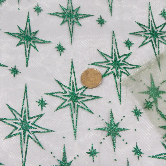 Tela Organza Estrellas - Precioso tejido de Organza semi-transparente con estrellas brillantes en color verde