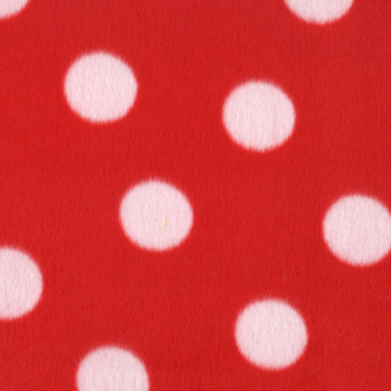 OUTLET Short Hair White Red Polka Dots fabric - Very short patterned hair fabric with large white polka dots on a red background. Fabric Outlet Cheap Clearance