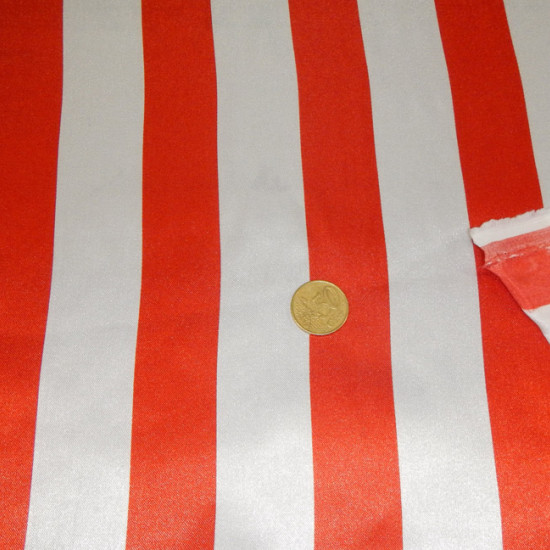 Satin White Stripes fabric - Shiny polyester satin fabric with wide white stripes with various color combinations to choose from. The satin fabric has shine on one side. The fabric is 150cm wide and its composition 100% polyester.
