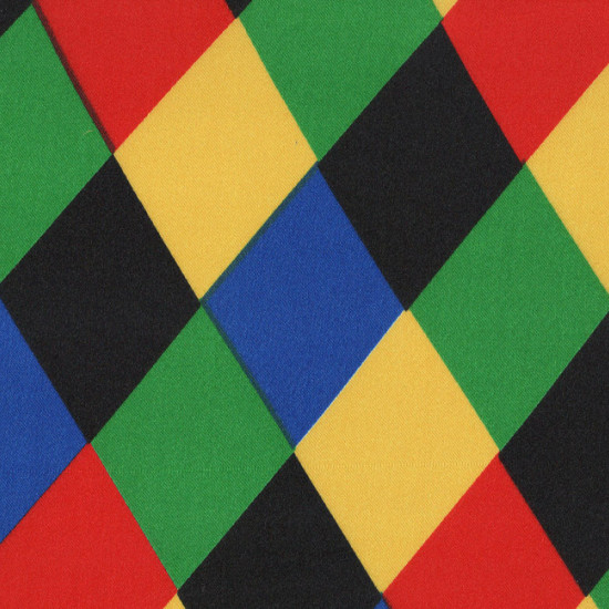 Satin Rhombus Colors Harlequin Costume fabric - Shiny satin fabric on one side, with drawings of harlequin-colored rhombuses. The fabric is 150cm wide and its composition 100% polyester.