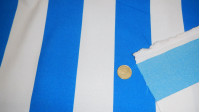 Burlington Stripes Blue White fabric - Burlington/Stretch fabric with wide blue and white stripes.