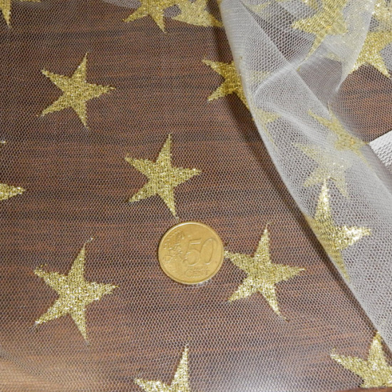 Tulle Lurex Gold Stars fabric - Semi-transparent white tulle fabric with gold-colored lurex stars. It is the perfect fabric for fantasy costumes, fairies, magic and also for Christmas.