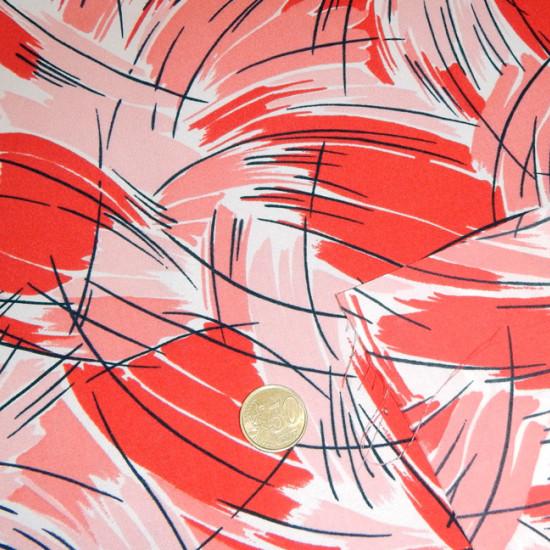 Tela Crespón Rayas Pinceladas - Tejido de Crespón estampado con rayas y formas pinceladas en color rojo, negro y rosa.