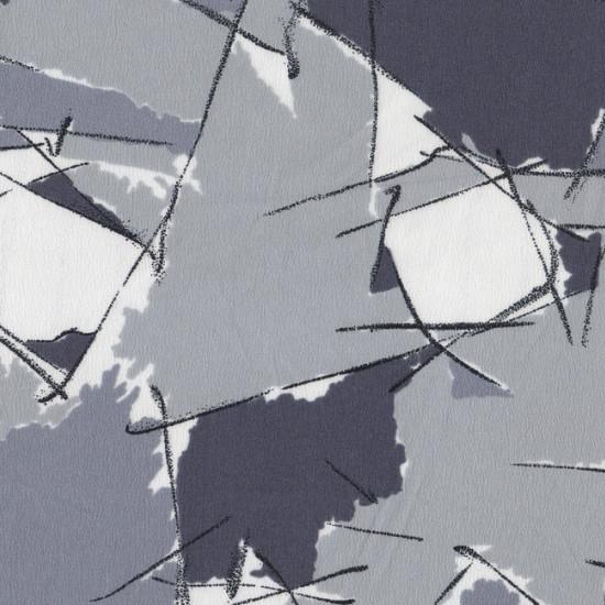 Tela Crespón Trazos - Tejido de Crespón estampado con trazos pinceladas en color gris y negro.