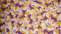 OUTLET Vintage Floral Crepe fabric - Crepe fabric with mustard and purple vintage style flower patterns