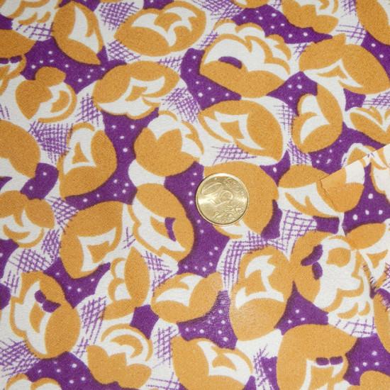 Tela OUTLET Crespón Flores Vintage - Tejido de crespón con dibujos de flores estilo vintage de color mostaza y púrpura La tela mide 110cm de ancho Tela Outlet Barata Liquidación