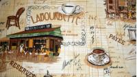 Tela Mantelería Cafetería Francia - Tejido para mantelería con dibujos de cafeterías, tazas de café, tostadas, taburetes y otros dibujos