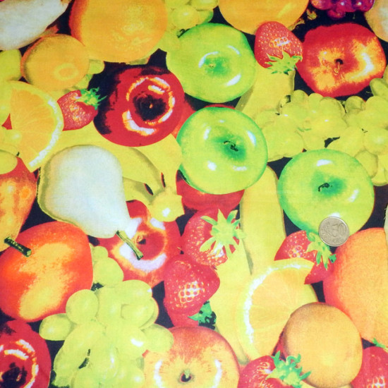 Cotton Fruits fabric - Fine cotton fabric with fruit drawings.