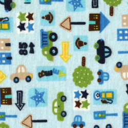 Flannel Cars City Blue Background