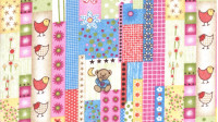 Tela Franela Ositos - Tela de franela con dibujos de ositos, pollitos y flores. Es un tejido ideal para el otoño/invierno y se pueden confeccionar todo tipo de ropa para el hogar (mantas, sábanas, cunas...)