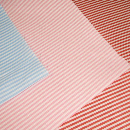 Tela Vichy Rayas Finas - Tejido de vichy con rayas de varios colores a elegir combinando con blanco. Las rayas miden 2mm de ancho y se disponen horizontalmente.