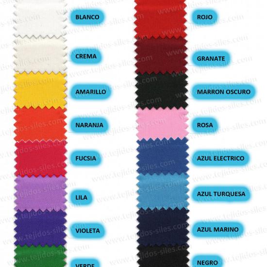 Tela Punto Seda Liso - Tejido de Punto de Seda. Es un poco elástico en una dirección. Tejido con caída usado mayormente para trajes de flamenca y vestidos. Carta de colores: