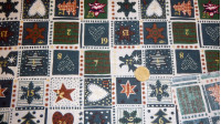 Cotton Christmas Advent Green fabric - 100% Cotton Patchwork fabric with Christmas theme. Advent calendar drawing where green color predominates.