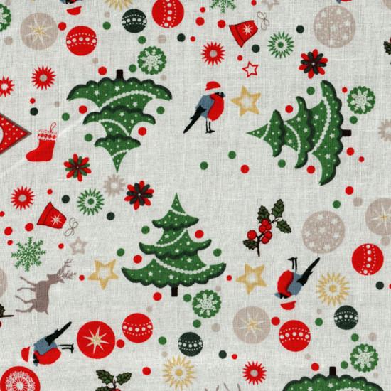 Algodón Navidad Arboles Buhos