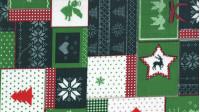 Tela Algodón Navidad Patchwork Verde - Tejido Patchwork 100% Algodón Dibujos de navidad donde predomina el color verde.