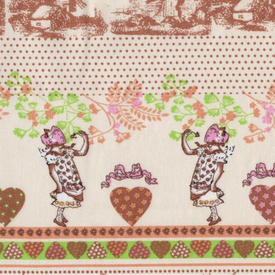 Tela Algodón Molinos Corazones - Tela de algodón de dibujos con molinos, flores, corazones, topos y campesinos sobre fondo claro.