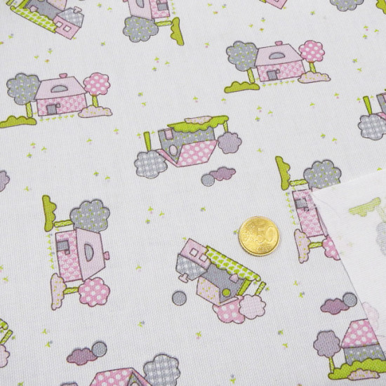 Piqué Children's Houses fabric - Piqué de Canutillo fabric with gray and pink house print