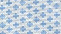 Pique Flowers Four Petals fabric - Piquede Canutillo fabric with four blue petal flowers on a light blue background.
