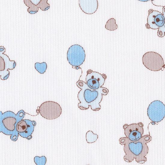 Tela Piqué Ositos Globos Azul Gris - Tejido de Piqué de Canutillo estampado con dibujos infantiles de ositos y globos en colores azul y gris sobre fondo blanco.