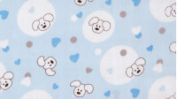 Pique Puppies Blue Hearts fabric - Pique fabric stamped with children's drawings of experts and hearts on a blue background.