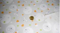 Tela Piqué Perritos Corazones - Tejido de Piqué de Canutillo estampado con dibujos infantiles de peritos y corazones verdes y naranja sobre fondo gris.