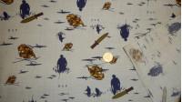 Tela OUTLET Popelín Militar Azul - Tejido de Popelín estampado con dibujos militares azules sobre fondo beige La tela mide 80cm de ancho y su composición 67% Poliester - 33% Algodón Tela barata liquidación outlet