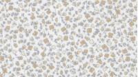 Tela Fondo Blanco - Precioso tejido de viella con dibujos de flores diminutas en tonos beige y gris sobre fondo blanco